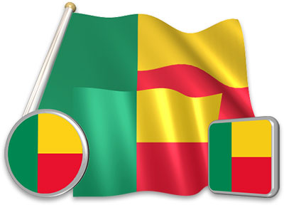 Beninese flag animated gif collection