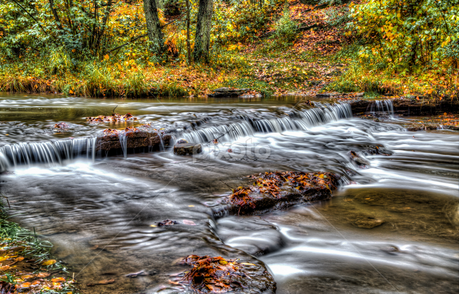 Autumn Falls by Andy Taber - Landscapes Waterscapes ( stream, hdr, colorful, autumn, flowing, fall, leaves, river, , garyfonglandscapes, holiday photo contest, photocontest, long, exposure, daytime, edition, challenge, HDR, Landscapes )