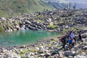 Let's fill our water bottles before starting the hike to Katora Lake, Upper Dir