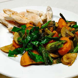 Sweet Potato With Mushrooms, Green Beans And Green Leaves.