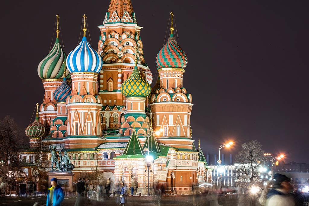莫斯科夜景 紅場 聖瓦西里主教座堂 大教堂 Saint Basil's Cathedral
