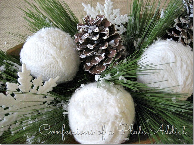 CONFESSIONS OF A PLATE ADDICT Wintery Centerpiece with Sweater Snowballs