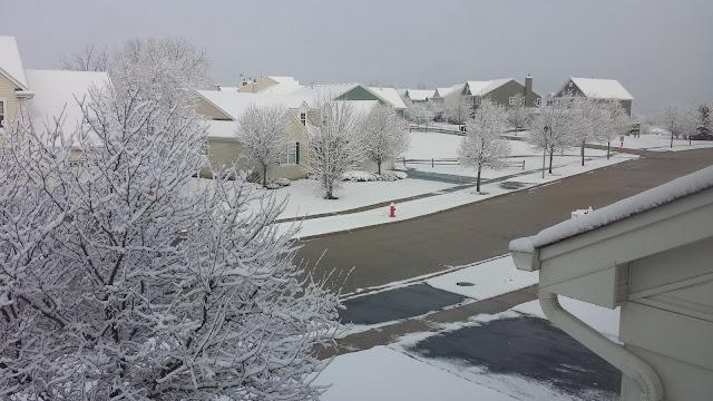 Snowy neighborhood in Chicagoland suburbs on December 2, 2015