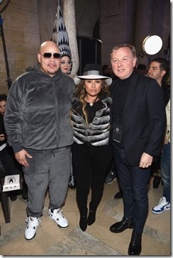 NEW YORK, NY - FEBRUARY 13: (L-R) Fat Joe, Lorena Cartagena, and Graziano de Boni attend the Front Row for the Philipp Plein Fall/Winter 2017/2018 Women's And Men's Fashion Show at The New York Public Library on February 13, 2017 in New York City.  (Photo by Dimitrios Kambouris/Getty Images for Philipp Plein)