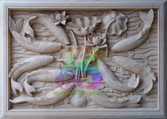relief batu alam motif ikan koi 9
