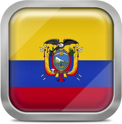 Ecuador square flag with metallic frame