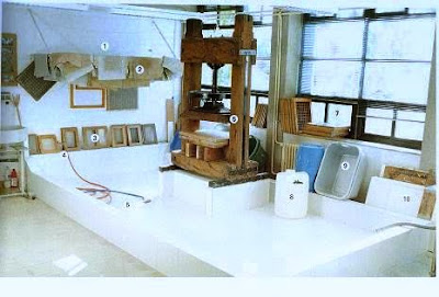 Taller para hacer papel reciclado. tendedero(1), bayetas (2), moldes (3), toma de agua(4), desague(5), prensa (6), ventilacion (7) , bidones (8), tinas (9), tableros (10)