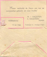 Groeneweg-Hagestein, Sjanie Geboortekaartje 19-07-1938.jpg