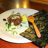 beef tartar dinner at Gonpachi Roppongi in Tokyo, Tokyo, Japan