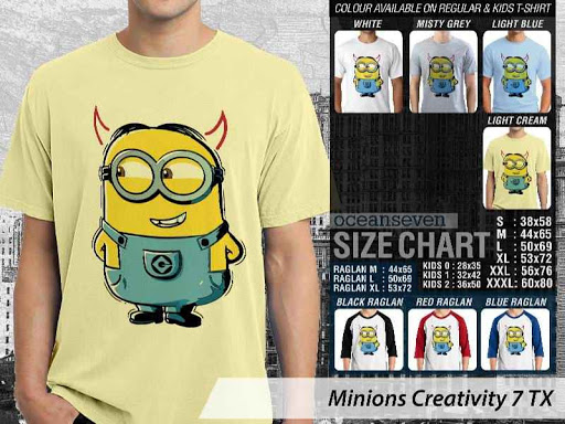 Kaos Kartun Minions Creativity 7 distro ocean seven