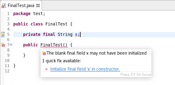 blank final variable example