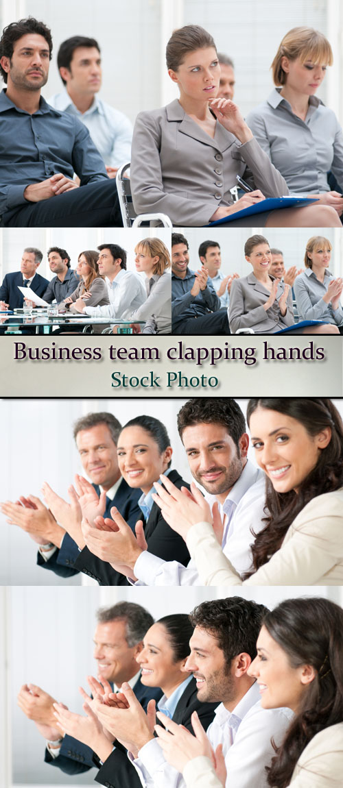 Stock Photo: Business team clapping hands