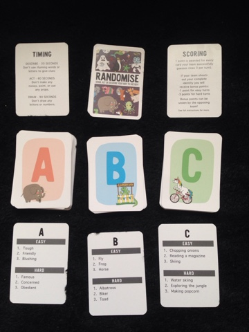 Randomise Card Game Sample Cards