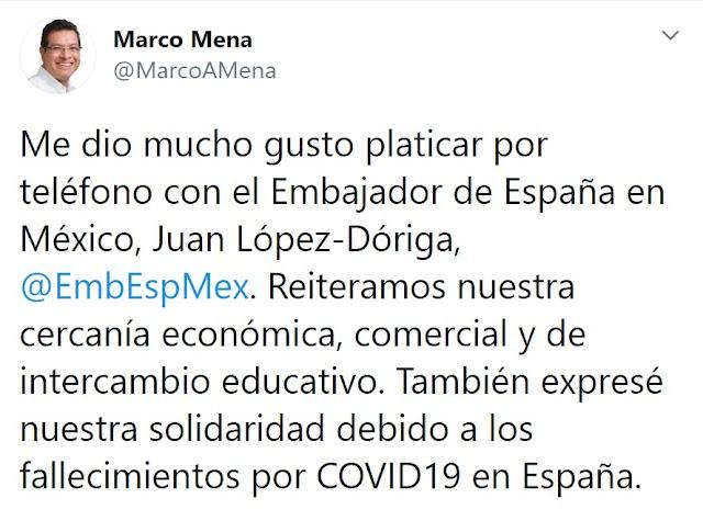 Reiteran Marco Mena y embajador de España cercanía económica comercial y de intercambio educativo