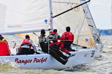 J/24 sailboat- sailing in East Coast Championship off Annapolis, MD
