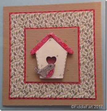 Robin and Bird House Holly Christmas Card