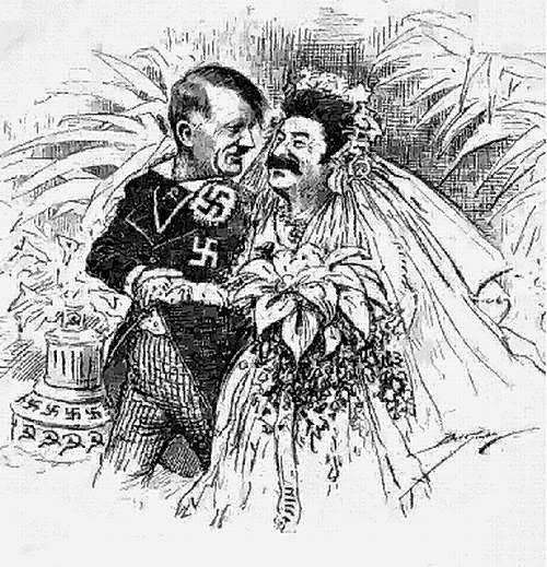 O casamento entre Hitler e Stalin: ironia acerca do Pacto Molotov-Ribbentrop. Imagem: autor desconhecido.