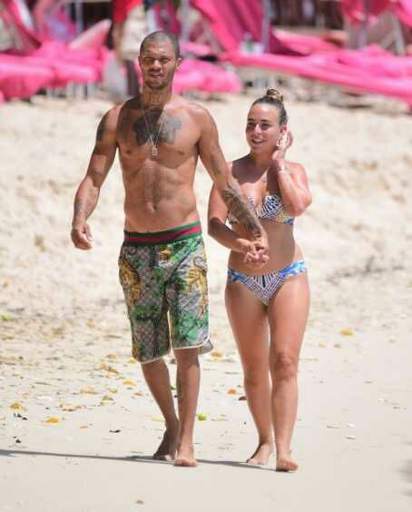 Chloe Green and Jeremy Meeks have a PDA-filled swim in Barbados