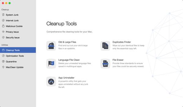 MacClean cleanup tgools screen