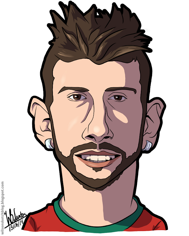 Cartoon caricature of Miguel Veloso.