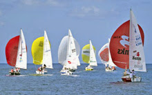 J/24 one-design sailboats- sailing off Barbados