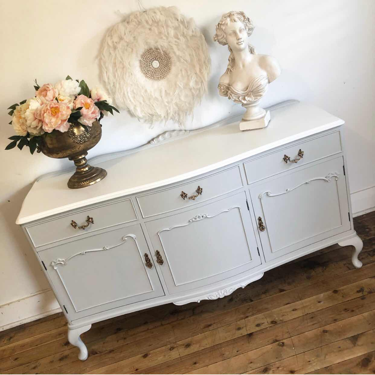 French style vintage sideboard lilyfield life white top
