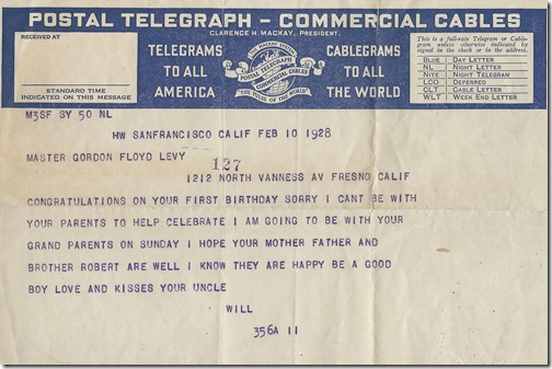Telegram from Wilt 1928