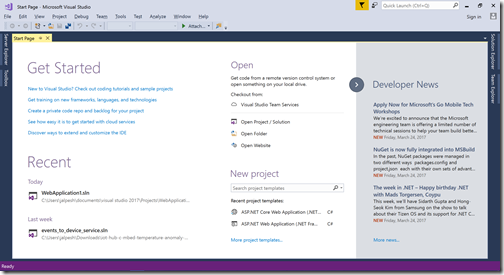 visual-studio-2017-start-page-default
