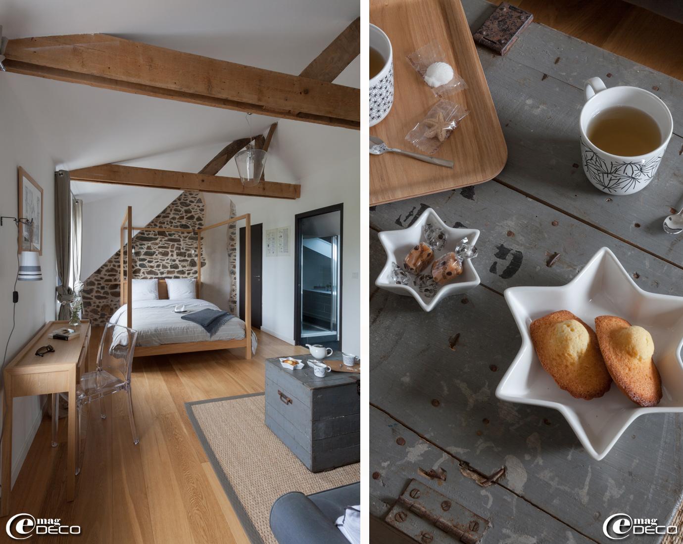 Lit à baldaquin 'Habitat', théière 'Forlife' et tasses 'Ikea'