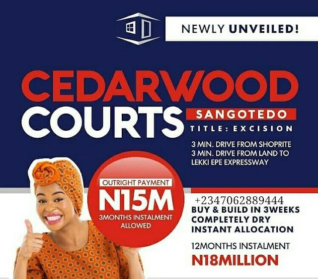 CEDARWOOD COURTS, SANGOTEDO, AJAH, LAGOS (LAND FOR SALE)