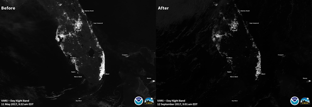 The VIIRS instrument on the Suomi NPP satellite generated this before/after image of power outages in Florida after Hurricane Irma, 12 September 2017. Photo: NOAA