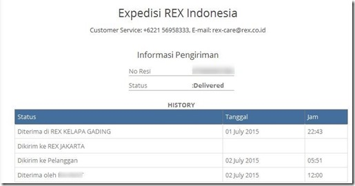 Hasil tracking no. Resi