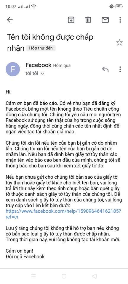 Email reply đổi tên FB