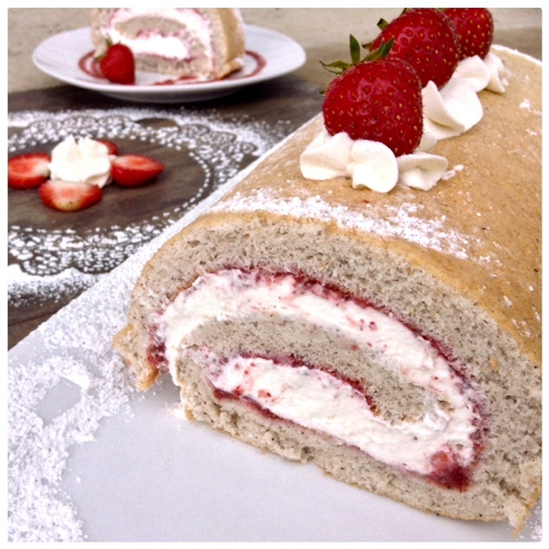 Gluten Free Strawberry Chia Roll Cake - Dinner Was Delish