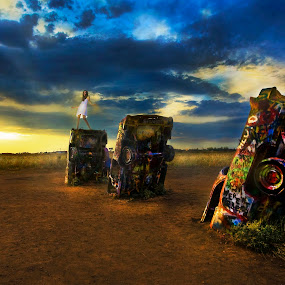 Catching the last Rays at Cadillac Ranch by Lee McLaughlin - Artistic Objects Other Objects ( model, autos, wrecks, park, cars, sunset, cadillac_ranch, route 66, amarillo texas, shelina moreda, usa )