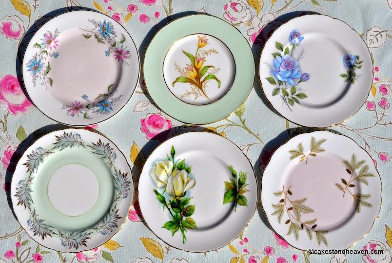 pastel eclectic vintage fine china tea plates
