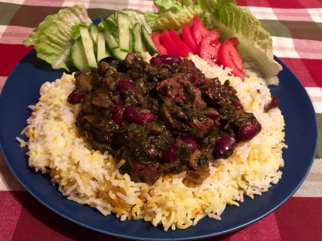 Ghormeh Sabzi Persian meat stew with fresh parsley, dill and fenugreek