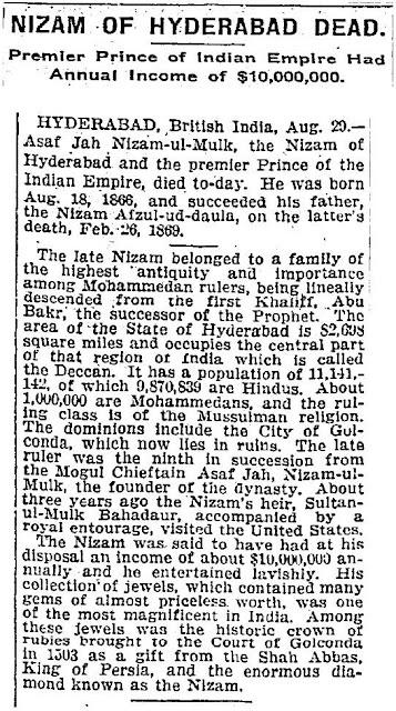 Hyderabadi Baataan - Nizam1911NYTimes.JPG
