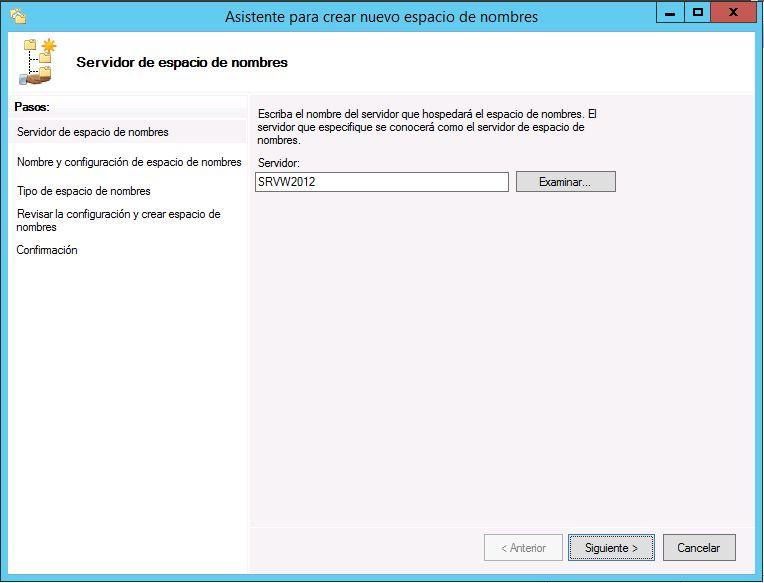 Crear espacio de nombres en DFS de Windows Server 2012 R2
