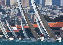 J/105s sailing upwind on San Francisco Bay