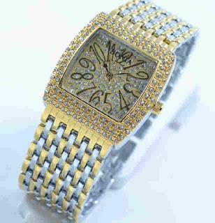 Jam tangan Bonia full diamond silver  kombi Gold