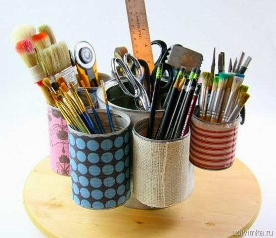 Organizador com latas