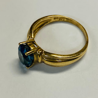 14K Gold and Blue Stone Ring
