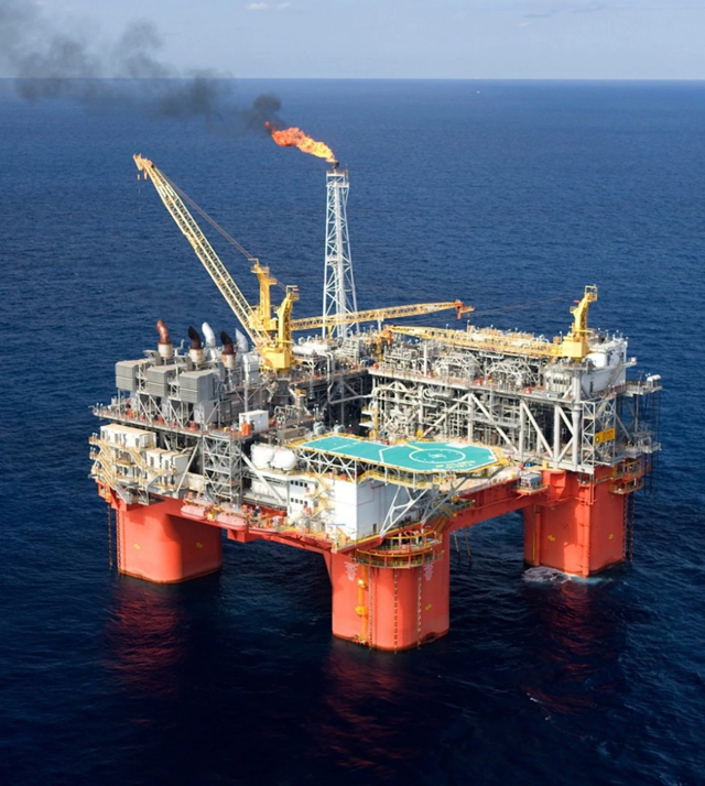 The Atlantis oil and gas production platform in the Gulf of Mexico. Photo: Marc Morrison / BP