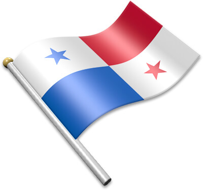 The Panamanian flag on a flagpole clipart image