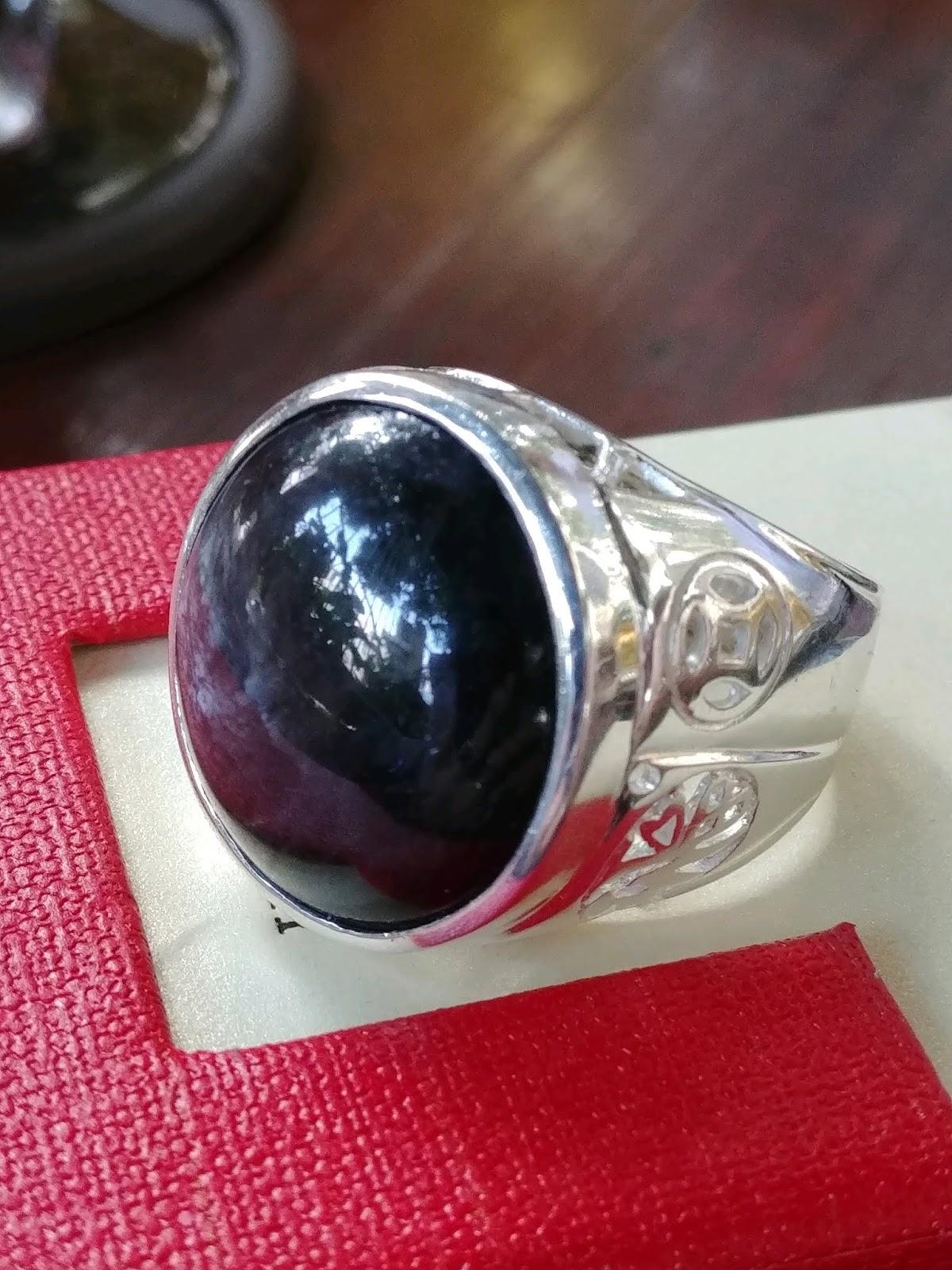 Nhẫn nam đá Sapphire đen thiên nhiên có sao đôi, bạc 925