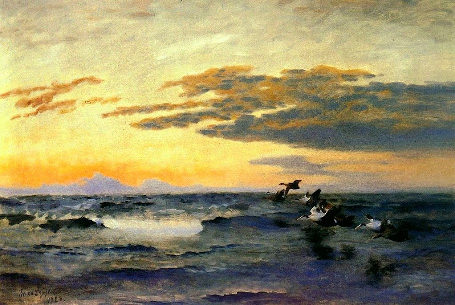 Bruno Liljefors - Eiders at Sunrise