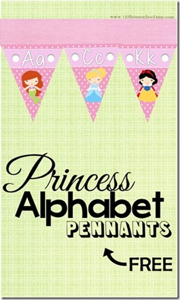 Princess Alphabet Pennant to hang on the wall for Toddler Preschool Kindergarten 1st Grade_thumb[1]