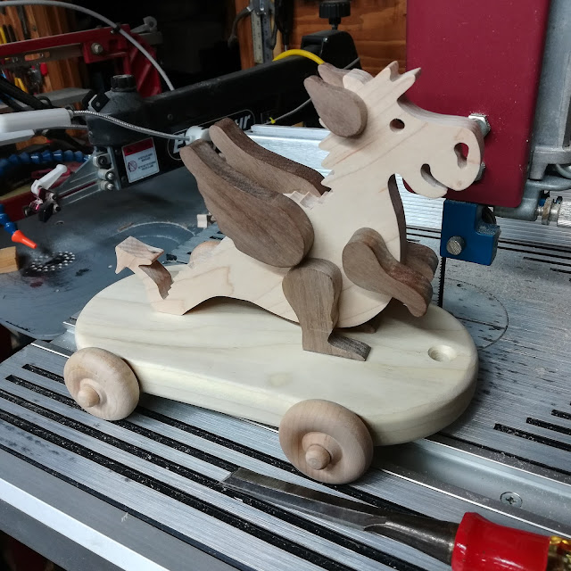 Handmade Wood Toy Baby Dragon Pull Toy