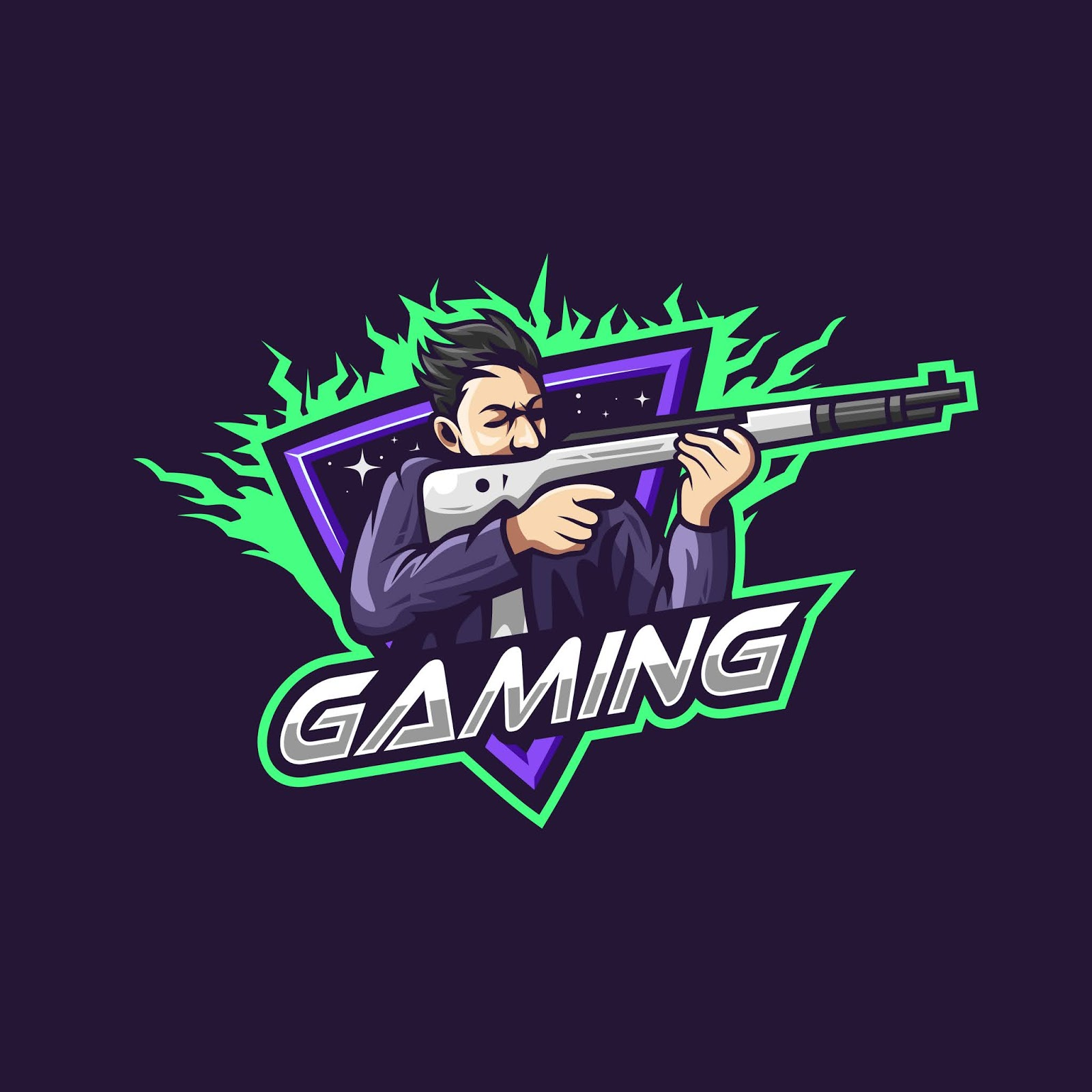 Man Holding Weapon Gaming Squad Esports Logo Free Download Vector CDR, AI, EPS and PNG Formats